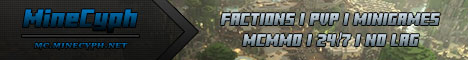 [MineCyph] 1.6.2 | Factions | PvP | McMMO | Paintball | CTF | 24/7